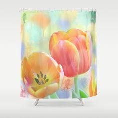 Pastel Painterly Tulips Shower Curtain