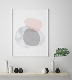 Pink and Grey Shapes Scandinavian Digital Wall Print – Salt&Printer Simple Prints, Modern Art Prints, Modern Wall Art, Grey Wall Art, Pink Wall Art, Scandinavian Art, Digital Wall, Geometric Wall, Pink Walls