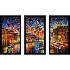 "FramedCanvasArt.com Leonid Afremov ""Venice Grand Canal"" Framed Plexiglass Wall Art Set of 3"