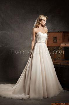 Glamouröse Herz-Ausschnitt A-linie Brautkleider aus Organza mit Schärpe