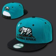 California Republic Teal & Black Snapback Snap Back Baseball Cap Caps Hat Hats | eBay