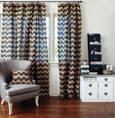 Chevron stripe burlap curtain panels