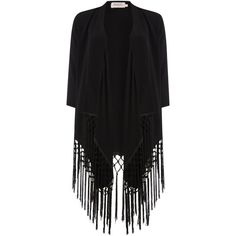 Soaked in Luxury Blazer with fringes found on Polyvore featuring outerwear, jackets, blazers, black, women, fringe jacket, fringe kimono jacket, kimono jacket, soaked in luxury and black fringe jacket