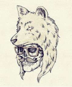"""WOLF HAT"" Art Print by Mike Koubou on Society6."