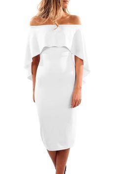 Luxurious Off Shoulder Batwing Cape White Midi Dress modeshe.com