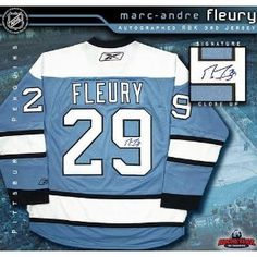 Marc-Andre Fleury Signed Uniform - Blue Reebok Premier - Autographed NHL Jerseys. Marc-Andre Fleury Pittsburgh Penguins Autographed Blue Reebok Premier Jersey Comes with a Certificate of Authenticity from Sportsmemorabilia.com Comes fully certified with Certificate of Authenticity and tamper-evident hologram. Also backed by SportsMemorabilia.com's Authenticity Guarantee