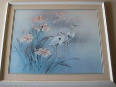 LENA LIU CRANE W/FLOWER SIGNED & NUMBERED 581/950 LIMITED EDITION PRINT, FRAMED