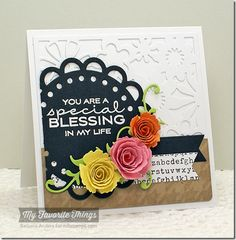 Cheerful Blessings, Large Scale Backgrounds, Typewriter Text Background, Fishtail Flags STAX Die-namics, Floral Fusion Cover-Up Die-namics, Leafy Flourish Die-namics, Mini Royal Roses Die-namics, Open Scallop Doily Duo Die-namics, Royal Rose Die-namics - Barbara Anders #mftstamps