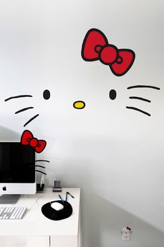 Hello Kitty face deconstructed so you can have more fun with it! Wall decal from BLIK.