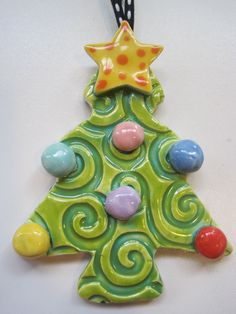 Whimsical Christmas Tree Ceramic  Ornament from Shannon Designs on Etsy.