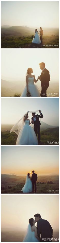 Lovely morning to be on top of Jeju Island // Korea Prewedding Photography