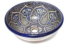 Moroccan vessel sink - pottery vessel bowl