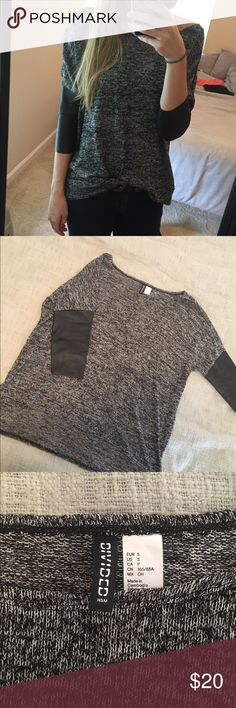 Leather sleeve black marble sweater Light weight black and white marble stitched sweater with faux leather sleeves (same sweater kaitlyn bristowe worn in Chris Soules season of the bachelor) so cute and comfortable Divided Sweaters Crew & Scoop Necks