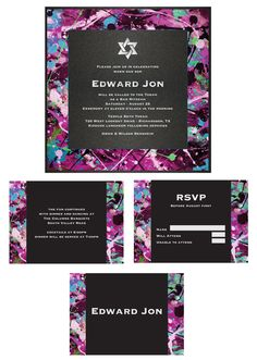 Specialty Triple Layer Invitation. Black Onyx base layer, White Gloss middle layer printed with splat paint pattern, Black Onyx top layer with metallic silver foil printing. Choice of design motif at top. Accessories -splat paint pattern printed on White Gloss with black accent block and text printed in smoke.