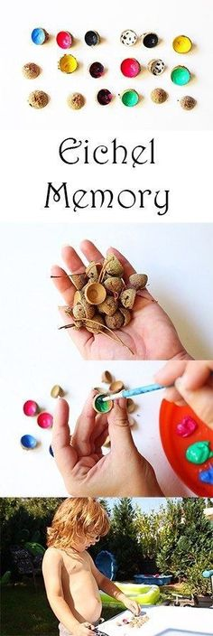 Crafts with natural materials . with a difference :) + video - mom .- Basteln mit Naturmaterialien… Mal anders:) + Video — Mama Kreativ Crafts in autumn with children from natural materials – acorn memory - Bee Crafts For Kids, Diy For Kids, Diy And Crafts, Children Crafts, Homemade Crafts, Autumn Crafts, Nature Crafts, Thanksgiving Crafts, Summer Crafts