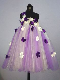 Buy Girls Purple Flower Tendril Tutu Gown (With Head Band) Online Ind Girls Party Wear, Girls Tutu Dresses, Purple Flowers, Ball Gowns, Tulle, Band, Formal Dresses, How To Wear, Stuff To Buy