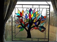 Tree for all Seasons ***Stained Glass Panel - Cool Glass Art Designs Stained Glass Paint, Stained Glass Flowers, Stained Glass Designs, Stained Glass Panels, Stained Glass Projects, Stained Glass Patterns, Glass Artwork, Glass Wall Art, Mosaic Glass