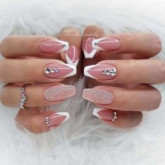Cute Acrylic Nails, Acrylic Nail Designs, Cute Nails, Gel Nails, Coffin Nails, Elegant Nail Designs, Elegant Nails, Stylish Nails, Rose Gold Nails
