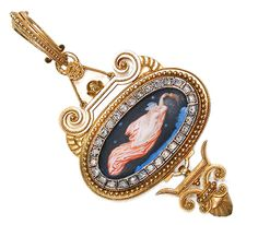Eugene Fontenay Signed Enamel Pendant - The Three Graces - This three part pendant of 18k yellow gold contains a central section that displays an enamel of matte finish (one of the trademarks of Fontenay). A reclining woman attired in a gown of diaphanous fabric floats through the celestial night sky dotted with stars and puffs of clouds.