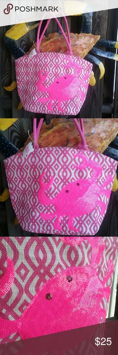 """CRAB TIME! Super Cute Pink Sequined Crab Tote! Burlap Type Material,  Crab is All Pink Sequins. Sealed on inside! By Mud Pie. Bag Dimensions are: 17"""" W  12"""" H. @7"""" Base. Cloth Straps, drop is @ 8 1/2.  New with tags, never used Mud Pie Bags Totes"""