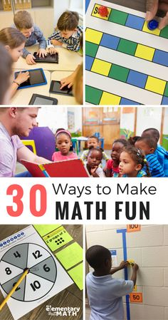Learn 30 different ways to make math fun. Your students will be begging you to use some of these strategies on a daily basis. Elementary Math, Kindergarten Math, Teaching Math, Teaching Ideas, Upper Elementary, Maths, Teaching Methods, Teaching Strategies, Fun Math Activities