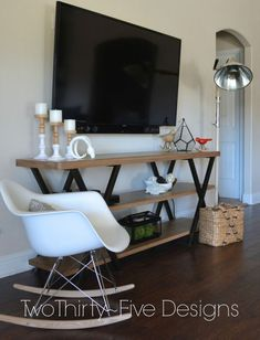 "Having the cords out and on display is both an eyesore and a clutter problem. Here's a <a href=""http://twothirtyfivedesigns.com/2014/01/diy-wall-mounted-television-hidden-cords.html"" target=""_blank"">helpful post from the blog Two Thirty-Five Designs</a> detailing step by step how to set up your TV while concealing the cords. #flatscreentvwallmounttelevision"