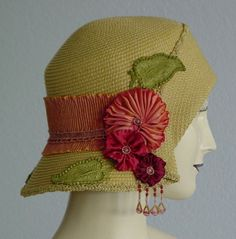 Golden Yellow and Peach Summer Cloche Hat ♡ by ohmama on Etsy
