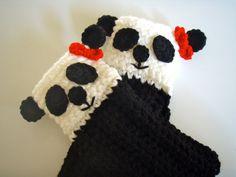 Crochet Panda Fingerless Gloves - Pattern $4.99