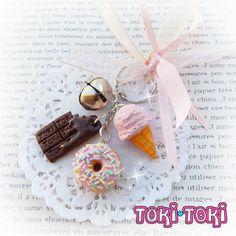 Cute Keychain Ice Cream Donut & Chocolate Keychain Charms Kawaii Keychain Purse Charm Bag Charm Food Keychain Polymer Clay Food Key Holder