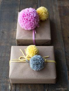 Yarn Pom Pom Gift Toppers