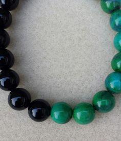 Mens  Chrysocolla and Black Agate Mala Handmade Bracelet,peace, wisdom,clarity,grounding, centre, power,chakra, yoga,gem bracelet,mala stack by BeadedDelightsByStef on Etsy