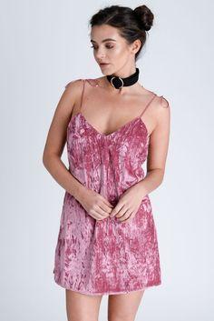 Rose Crushed Velvet Slip Dress