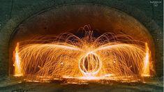 Resultat: Langzeitbelichtung mit brennender Stahlwolle