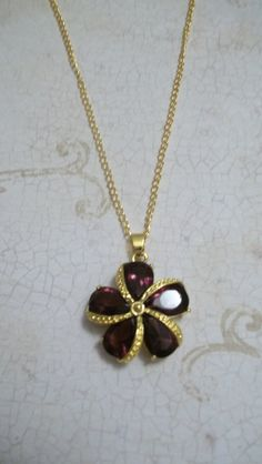 Purple Crystal Yellow Gold Filled Pendant Necklace. #crystal #goldnecklace #purplenecklace $29.50, via Etsy.