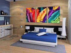 Envío libre 3 Panels vendedores calientes fresh look de plumas de colores en la lona sin marco moderno de la pared home deco decoración de la pintura