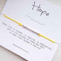HOPE Bracelet - Morse Code Bracelet, meaningful gift, nurse appreciation gift, thank-you gift Unique Bracelets, Wish Bracelets, Code Morse, Bracelet Making, Jewelry Making, Nurse Appreciation Gifts, Morse Code Bracelet, Sliding Knot, Jewelry Polishing Cloth