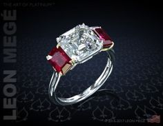 Three stone bespoke engagement ring with Asscher cut diamond and two natural rubies in yellow gold and platinum by Leon Mege