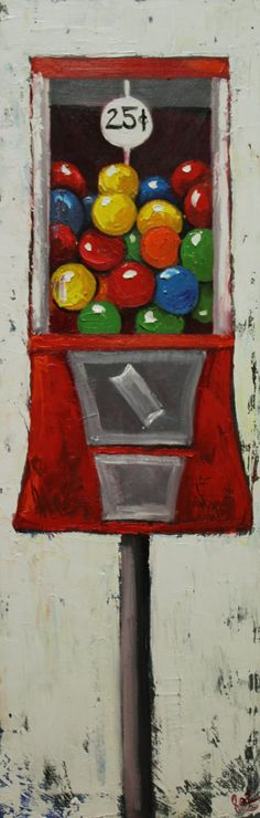 Gumballs+9+12x36inch+original+oil+painting+by+Roz+by+RozArt,+$275.00