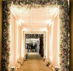 Wedding Reception Entrance Ideas Pathways 36 New Ideas Wedding Walkway, Wedding Reception Entrance, Wedding Hall Decorations, Wedding Mandap, Wedding Receptions, Church Wedding, Wedding Stage Backdrop, Wedding Draping, Wedding Halls