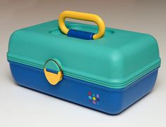Vintage Caboodles 1980s Makeup Train Case Model 2602 Teal Blue Yellow EUC…