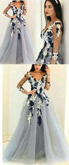 prom dresses,Gray Organza V-neck Long Sleeves Prom Dress,See-through Handmade Flowers Prom Gown,A-line Long Prom Dresses,Formal Dresses 2017