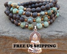 Healing Mala Wrap Bracelet Necklace Turquoise 108 by SoulTresures, $49.00