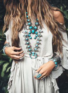 Vintage Turquoise Squash Blossom | Vintage Turquoise | Squash Blossom Necklace | Turquoise Ring | St. Eve Jewelry