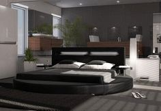 Black Leatherette Round Platform Bed