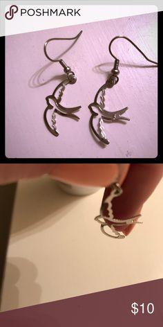 Bird Earrings Thin metal earrings in the shape of a sparrow. I've never worn them. Jewelry Earrings