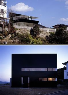 The unique angular design of this modern house and the all black exterior makes the home stand out from the rest.