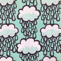Image of Rainclouds Mint organic cotton jersey (by the half metre)