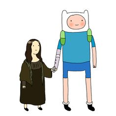 """By writer/storyboard artist Steve Wolfhard: """"I had forgotten that I once pitched the Mona Lisa, the actual painting which had come to life after the mushroom war, dating Finn. Mona Lisa Kingdom is just Florence, but half sized, and she's the only one..."""