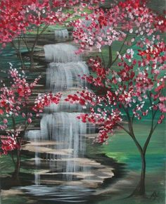 falls and cherries Easy Canvas Painting, Diy Painting, Painting & Drawing, Canvas Art, Landscape Art, Landscape Paintings, Waterfall Paintings, Waterfall Drawing, Beginner Painting