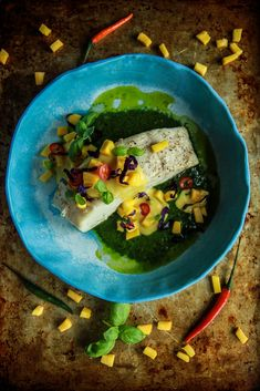 Paleo Grilled Halibut with Mango Sauce and Thai Pesto - Heather Christo Entree Recipes, Fish Recipes, Seafood Recipes, Whole Food Recipes, Healthy Recipes, Healthy Eats, Grilled Halibut, Mango Sauce, Fish Dishes